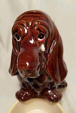 Vintage Sad Basset Hound Dog Doggy Puppy Planter Brown Ceramic With Tear