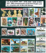 US 1989 Commemorative's / Booklet Singles Year Set with 34 Stamps MNH