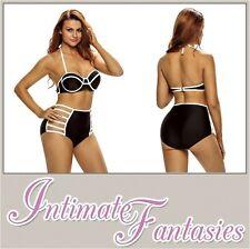 Black Sexy White High Waist Bathing Swimsuit Bikini Size 10 12 Swimming Costume
