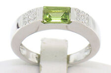 14k White Gold .84ctw Solitaire Emerald Cut Peridot Band Ring w/ Diamond Accents