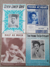 4 x 1950s Lita Roza sheet music. Young at heart, Half as much, 7 lonely days etc