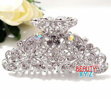 woman Rhinestone crystals flowers butterfly metal hair claw clip pin hair clamp
