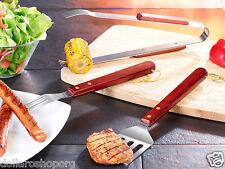 Set 3 pezzi per Grill barbecue in acciaio inox e legno Bistecca Carne 3pz BBQ