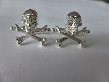 Sterling Silver Cráneo Y Huesos Cruzados Gemelos UK Made