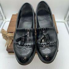 DEXTER -Mens 10 W- Black Leather Tassel/Fringe WINGTIP DRESS LOAFERS