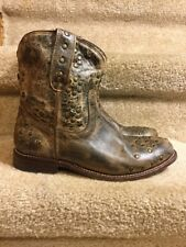 Bed Stu Cobbler Brown Distressed Studs Side Zip Leather Ankle Boots SZ. 8