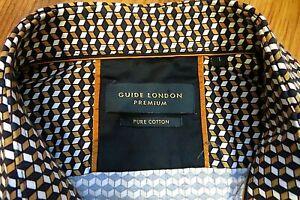 "Immaculate GUIDE LONDON Premium Man's Pattern/Contrast Slim Shirt sz L 40-42"""