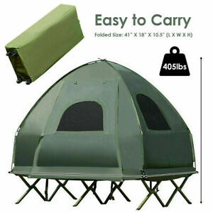 2-Person Compact Portable Pop-Up Tent/Camping Cot with Air Mattress Sleeping Bag