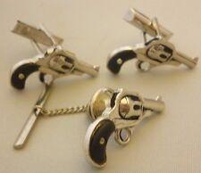 Rare Vintage Swank Six Shooter Western Gun Cufflink Tie Clip Black Grips