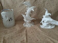 Lenox dolphin and whale figurines and vase