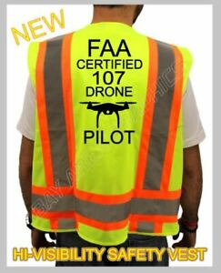 FAA CERTIFIED 107*DRONE PILOT SAFETY GREEN VEST HI-VISIBILITY REFLECTIVE LARGE