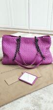 BOTTEGA VENETA Leather Intrecciato Nappa Lavender Pink Double Chain Tote Bag