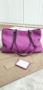 BOTTEGA VENETA Double Chain Leather Intrecciato Nappa Lavender Pink Tote Bag