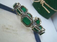 GORGEOUS VINTAGE SOLID STERLING SILVER ONYX CHRYSOPRASE MARCASITE BRACELET 8""