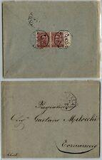 UMBERTO I Coppia 10c(60) BDF - Busta LENTELLA->Cornareccio 2.9.1900