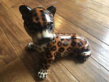 "Vintage Ceramic High Shine Leopard Daisa 1984 Hispania Leopard Lladro 12"""