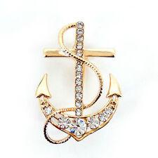 Unique Big Anchor Pin Brooch Use Austria Crystal 4cm x 2.5cm