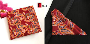 Peach Orange Red Purple Silver Red Green Blue Paisley Pocket Square Handkerchief