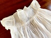 Antique Hand Embroidered Lace White Organdy Child / Dolls Over Dress Christening