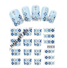 Nail Art water transfer Stickers-Adesivi French Blu con Glitter Argento !