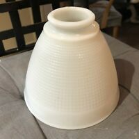 """Vintage Corning 820090 White Milk Glass 6"""" Diffuser Torchiere Lamp Shade Waffle"""