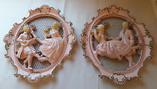"""Pair Vtg UNIVERSAL STATUARY Oval Wall Plaques Victorian Couple 14"""" x 16""""   1957"""