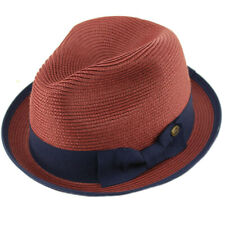 Men's Classy Travel Crushable 2tone Derby Fedora Upturn Curl Brim Hat Burgundy