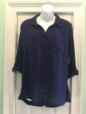 New Faded Glory Women's Blue Hi Lo Dark Blue Blouse M (8-10) **NEW WITH TAGS**