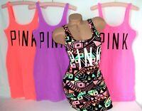 Victorias Secret PINK Womens Mini Dress Tank Top Coverup Stretch Bright Neon Nwt