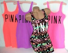 Victoria's Secret PINK Tank Top Beach Coverup Mini Dress Stretch Bright NEON NWT