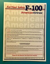 AMERICAN AIRLINES SAFETY CARD--FOKKER 100