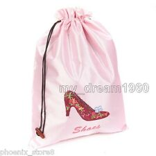Cute Pink Handmade Silk Satin Embroider Shoes CLOTHES Bag Drawstring Purse