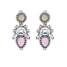 Vintage Stil Boho Opal Imitation pink lange Ohrstecker Damen Ohrringe E1146