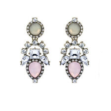 Vintage Style Bohemian Opal Imitation Pink Long Drop Stud Women Earrings E1146