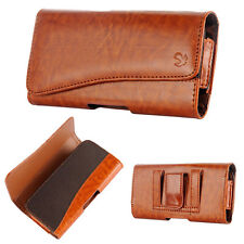 for SAMSUNG Phones -HORIZONTAL BROWN Leather Pouch Holder Belt Clip Holster Case