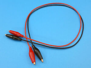18AWG 50cm Silicone Test Leads w/ 28mm Copper Crocodile Clips (1 Pair Red+Black)