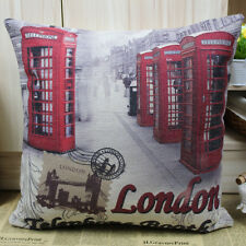 RETRO OP POP PHONE BOOTH ART RED LONDON SCENE, LINEN CUSHION COVER 45x45cm