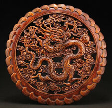 CHINESE HANDWORK DRAGON STATUE CAMPHOR WOOD PLATE WALL SCULPTURE