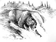GRIZZLY BEAR fishing quality pencil drawing Artist Signature  NEVER GIVE UP