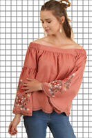 PLUS XL 1XL 2XL UMGEE CANYON CLAY EMBROIDERED Shoulder Top/Shirt/Blouse BHCS