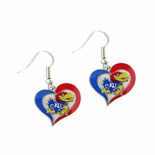 Kansas Jayhawks Earrings Logo on Swirl Heart Fashion Dangle Earrings