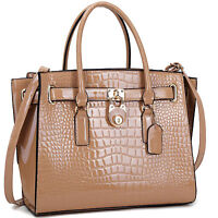 New Women Handbag Faux Croco Leather Satchel Tote Bag Shoulder Bag Large Purse