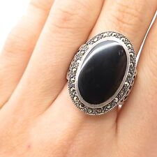 925 Sterling Silver Large Real Black Onyx Marcasite Gemstone Ring Size 7