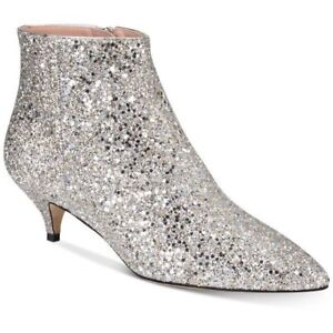 kate spade new york Olly Too Pointed-Toe Ankle Booties Size 5.5 Silver Glitter