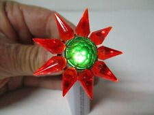 1930s C-6 Single Row Matchless Star Glass Christmas Light - Red Green #1
