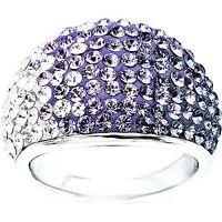 PURPLE SWAROVSKI CRYSTAL ELEMENTS RING, size N or Q, Christmas dress ring