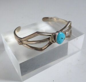 Vintage Navajo Native American Sterling Silver Turquoise Bracelet. Marked