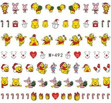 Nail Art Stickers Water Decals Transfers Winnie The Pooh Piglet Xmas (M+492)
