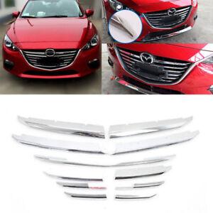 For Mazda3 Axela 2014 2015 2016 Chrome Front Bumper Billet Grille Grill  11pcs