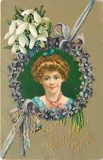 """""""One of the Girls from"""" Thornfield Michigan~Victorian Lady in Violets Frame~1912"""